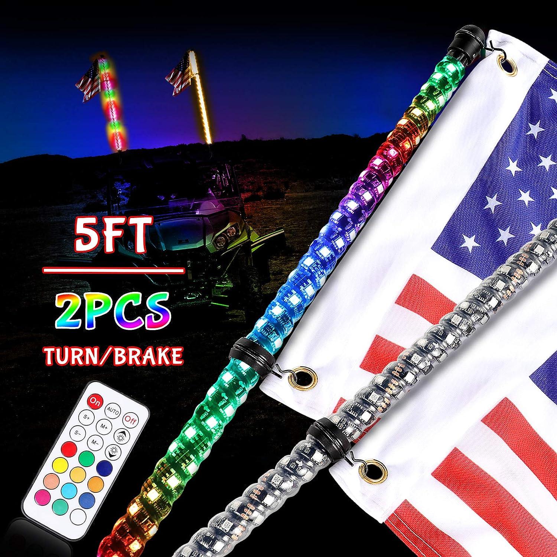 DJI 4X4 2Pcs 3ft LED Whip Lights w//Turn Signal /& Brake//Reverse Light RGB Dancing//Chasing Antenna LED Whips with Remote Control Lighted Whip for UTV ATV RZR Polaris Off road Trucks Buggy Dune Boat