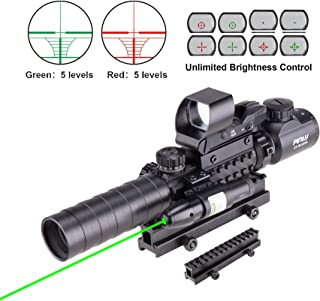 Pinty Rifle Scope 3-9×32 Rangefinder Illuminated Reflex Sight 4 Reticle Green Dot Laser Sight