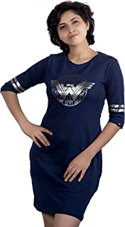 Planet Superheroes Wonder Woman T-Shirt Dress - Movie Logo (Navy)