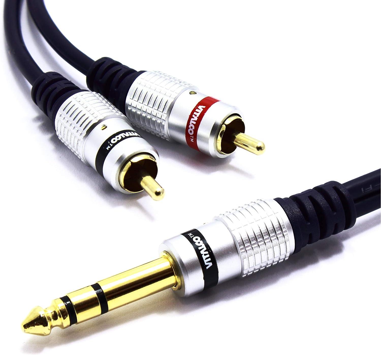 Cavo splitter a Y da 6,35 mm stereo a 2 RCA da jack Vitalco da 1//4 di pollice TRS Stereo a Twin Cinch mono maschio a spina maschio 1//4 Audio Adapter Gold OFC 5 m