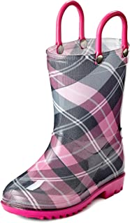 Puddle Play Toddler and Kids Waterproof Rain Boots with Easy-On Handles - Boys and Girls Plaid Colors