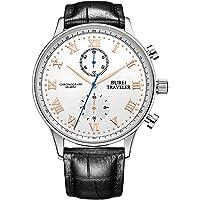 Burei Mens Women Chronograph Quartz Watches w/ Analog Dial (Silver)