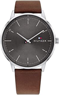 Men's Stainless Steel Quartz Watch with Leather Strap, Brown, 21 (Model: 1791840)