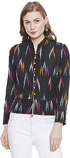 قميص إنديغو بيزلي أفا للنساء غزل مصبوغ قطن إيكات خفيف الوزن كامل الأكمام نمط جاكيت