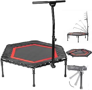 SportPlus opvouwbare fitness trampoline, opklapbare poten, Ø 126 cm, stille rubberen veering, 5-voudig in hoogte verstelba...