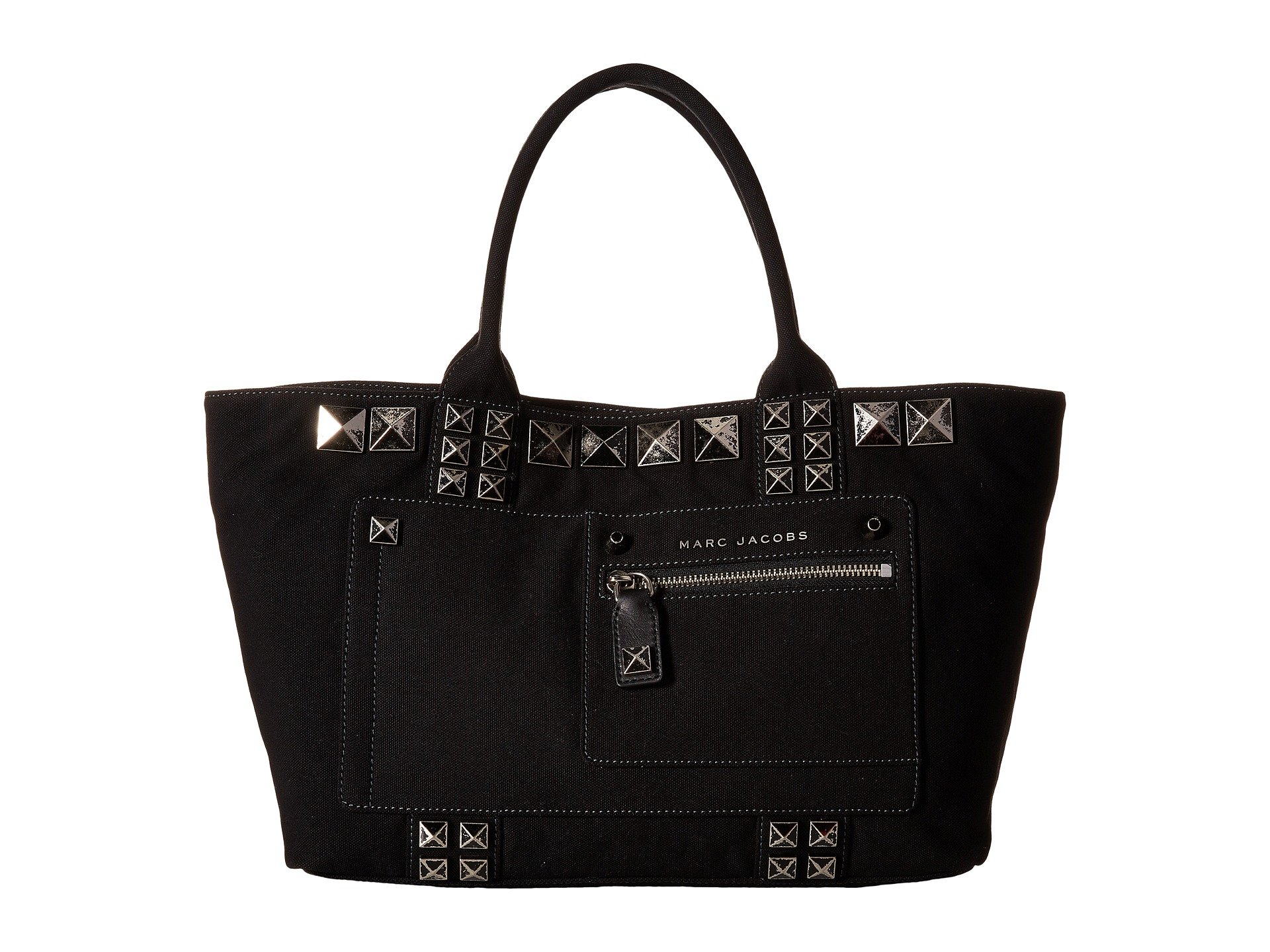 Canvas Chipped Studs Tote, Black