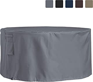 COVERS & ALL Outdoor Patio Round Table & Chair Set Cover 12 Oz Waterproof - 100% UV & Weather Resistant PVC Coated Round Table Cover with Air Pockets & Drawstring for Snug Fit (60, Grey)