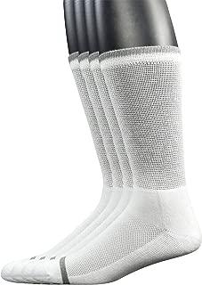 Yomandamor Men's 4 Pairs Bamboo Diabetic Crew Socks with Seamless Toe and Cushion Sole
