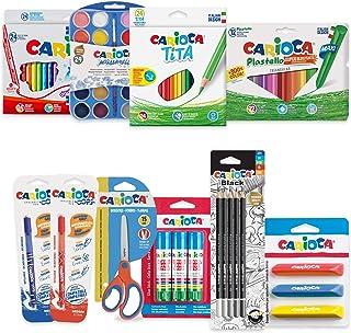 CARIOCA SET VUELTA AL COLE| 53220 - Kit Productos para Colorear, Dibujar y Recortar, 100 Unidades