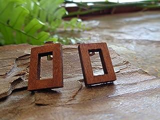 。.: * ☆ TAPPO IN LEGNO RETTANGOLARE MARRONE SCURO ☆ * .: 。. Orecchini etnici in vero legno, geometrici