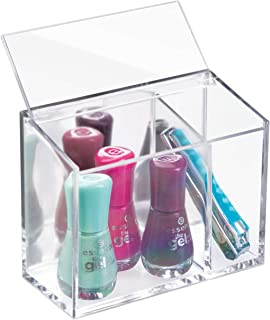 InterDesign AFFIXX Peel and Stick Adhesive Clarity Vanity Cosmetic Organizer, Damage-Free Storage for Beauty Products, 2 C...