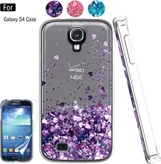 Galaxy S4 Phone Case,S4 Case, Galaxy S4 Case with HD Screen Protector for Girls Women,Atump Bling Shiny Moving Quicksand Liquid TPU Protective Phone Case for Samsung Galaxy S4 Purple