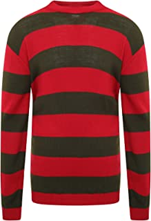 GirlzWalk Kids Children Stripe Crew Neck Knitted Jumper RED Green Striped Top Age 5-13 Years Old