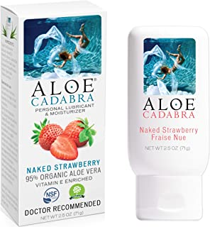 Aloe Cadabra Flavored Personal Lubricant Organic Passion Lube for Anal Sex, Oral, Women, Men & Couples, Naked Strawberry 2.5 Ounce