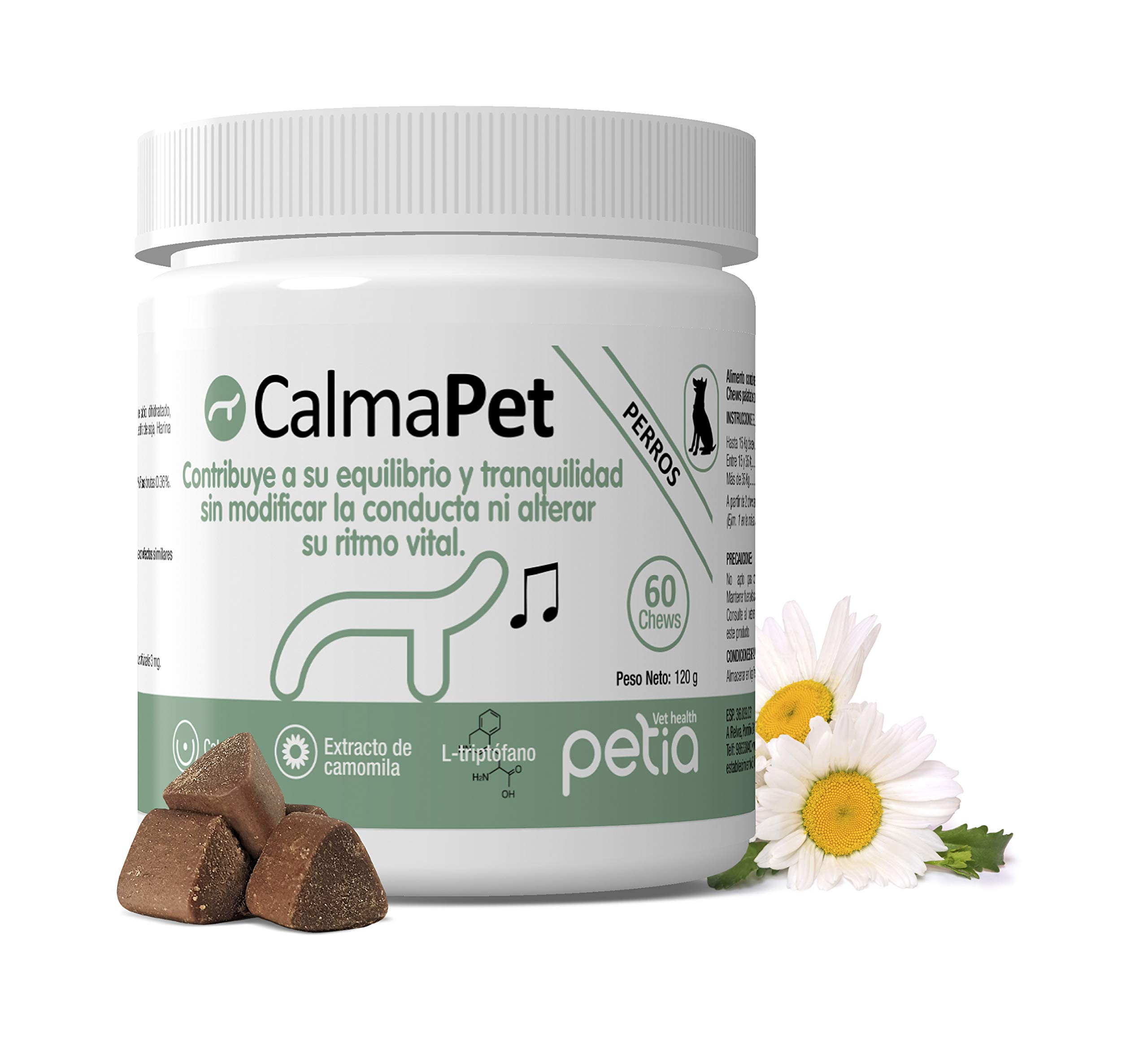 Petia Vet Health CALMAPET. (Complemento alimenticio para Perros y Gatos. 60 Chews. Sin Efectos Secundarios): Amazon.es: Productos para mascotas