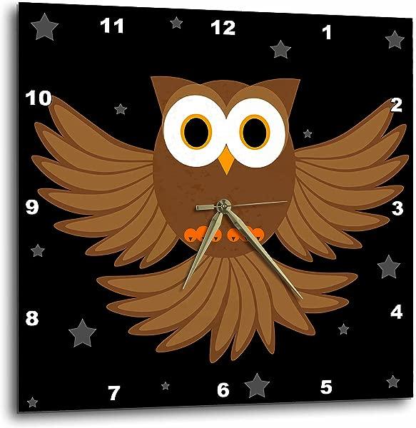 3dRose DPP 6115 3 夜猫子星空下挂钟 15 乘 15