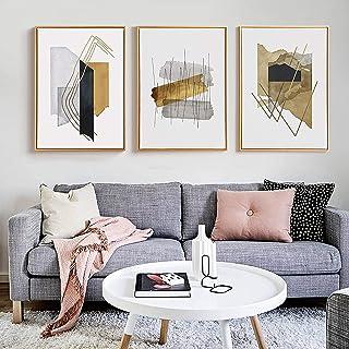 Art mural abstrait à l'aquarelle nordique à rayures et à rayures Affiches et impressions imprimées sur toile pour la décor...