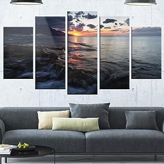 "Designart MT10894-373 Metal Wall Art, Blue/Orange, 60"" x 32"""