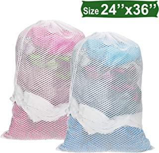 Senneny Mesh Laundry Bag 24 x 36 inches Large Sturdy Mesh Wash Bags Heavy Duty Drawstring Bag Ideal Machine Washable Nylon Laundry Bag for Delicates College Dorm Apartment Factories Travel - 2 Pack