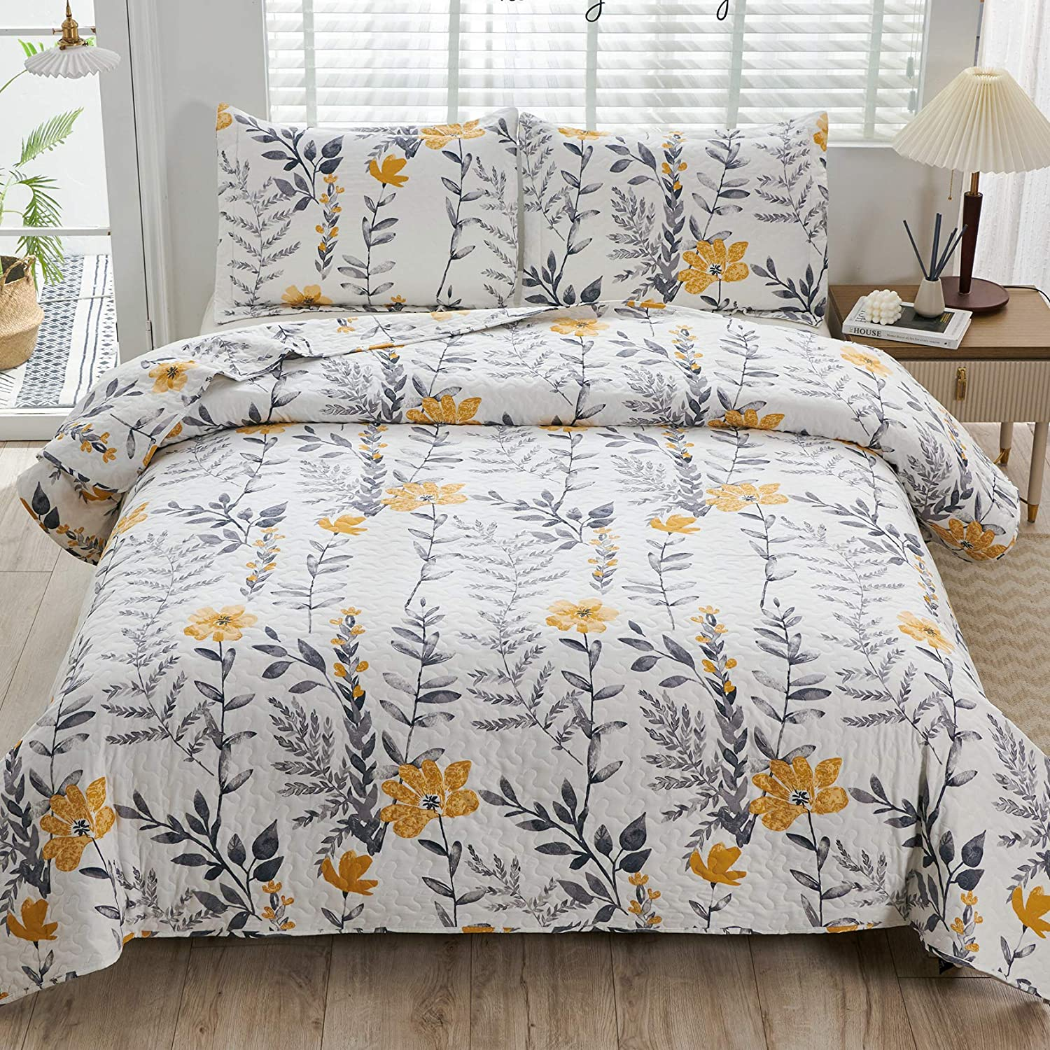 3 Pcs King Size Floral Bedspread Quilts Popularity Plant Flower Bargain Lightweight