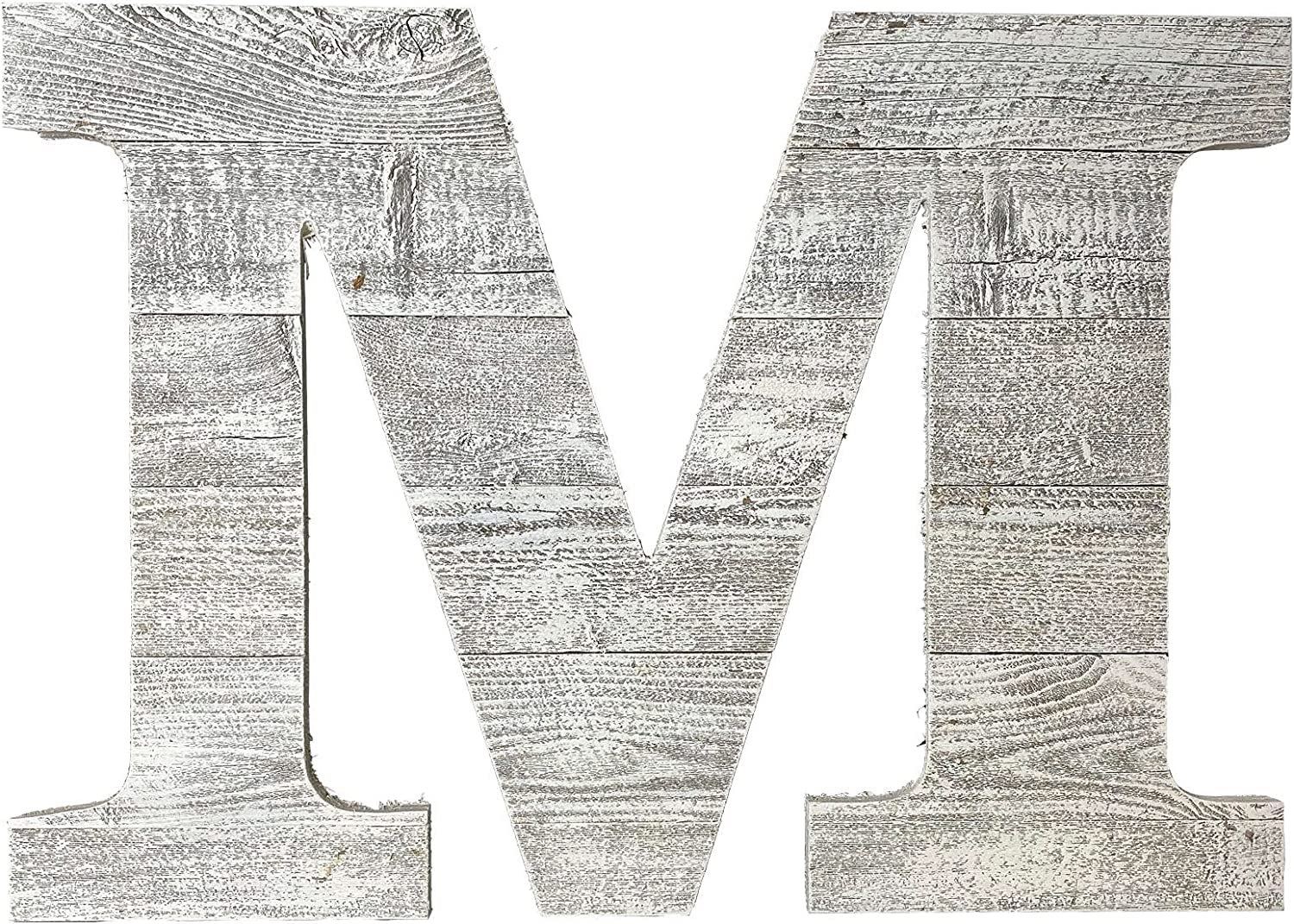 Distressed Rustic Barn Wood Letter | Alphabet Wall Décor Monogram Letter | Alphabet Letters | Wall Letters | White Wash | Letter M