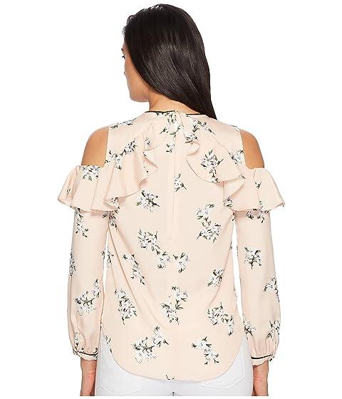 volantes rosa de Lauren y hombros Top Ralph con floral LAUREN descubiertos estampado qp0wxgnC