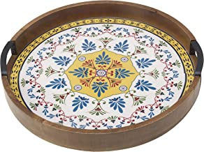 Gourmet Basics by Mikasa Round Lazy Susan Serving Tray, 16-Inch, Tiled