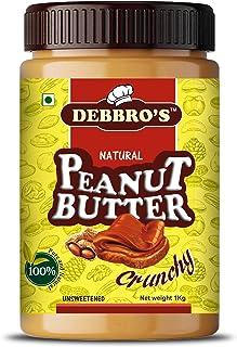 Debbro's All Natural Peanut Butter (Crunchy) (1 kg) (Unsweetened, Non-GMO, Gluten Free, Vegan)