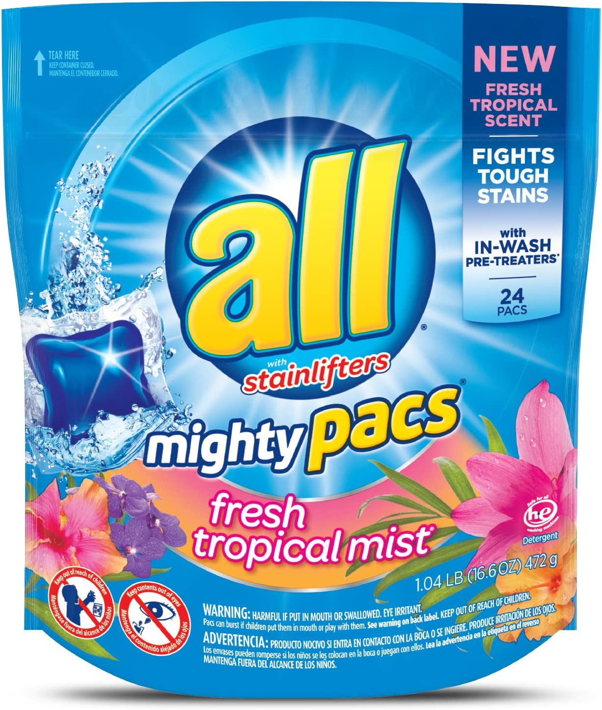 all Mighty Pacs Laundry Detergent Tropical Mist Fresh Pouch Spasm price shopping 2