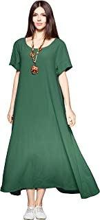 Side Pockets Linen Cotton Soft Loose Dress Spring Summer Plus Size Clothing F131A