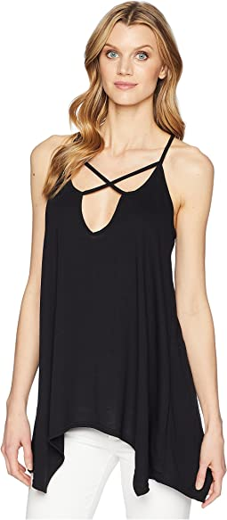 1609 Polyester Blend Knit Cross Front Tank