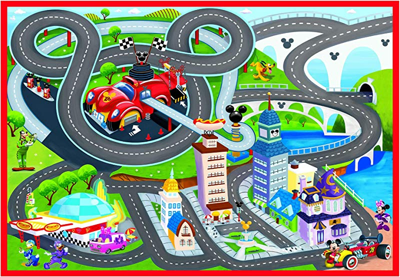 Gertmenian 21643 Racer Game Carpet Mickey Mouse Rug 5x7 Large Red