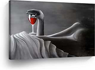 SmileArtDesign Sexy Naked Nude Woman Drinks Red Wine in Bed White Sheet Lady Girl Black White Oil Painting Canvas Print Decorative Wall Art Home Decor - Ready to Hang -%100 Handmade in The USA - 8x12