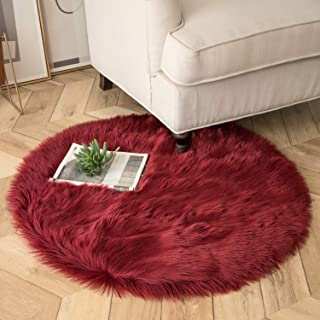 Ashler Ultra Soft Fluffy Area Rug Faux Fur Sheepskin Carpet Chair Couch Cover for Bedroom Floor Sofa Living Room, Dark Red Round 3 x 3 Feet