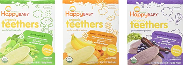 Happy Baby Organic Teethers Gentle Teething Wafers 3 Flavor Sampler Bundle: (1) Pea &..