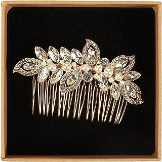 新娘发梳 - 装饰性水钻婚礼梳适合伴娘、订婚派对、新娘淋浴、玫瑰金 - 8.89 x 0.99 x 5.33 厘米