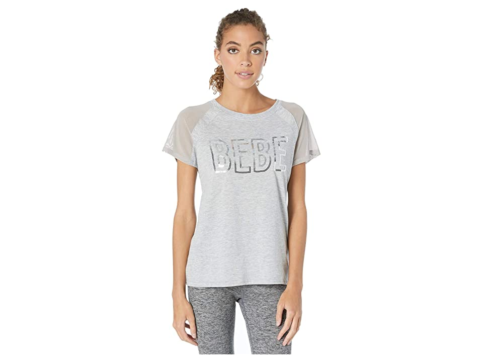 Bebe Sport Mesh Sleeve Sequins Logo Top (Light Heather Grey) Women