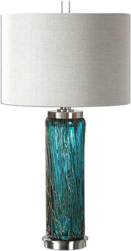 new arrival Uttermost outlet sale 27087-1 Almanzora sale Blue Glass Lamp online sale