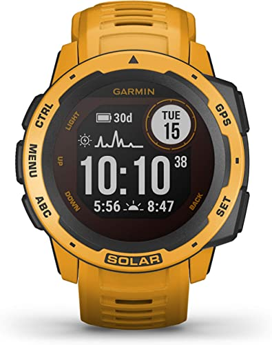Garmin Instinct Solar, Solar-Powered Rugged Outdoor Smartwatch, Built-in Sports Apps and Health Monitoring, Sunburst ...