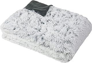 ZOLLNER Couverture, 220x240 cm, Gris-Blanc, Aspect Fourrure