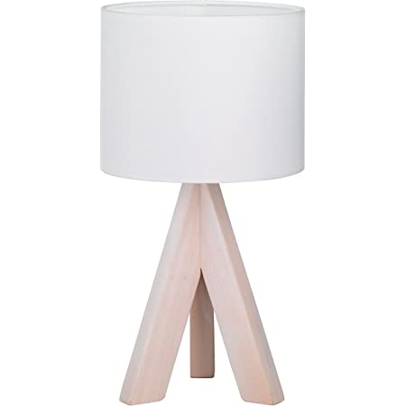 Reality - Lampe de table Trepied bois, Ging 1xE14, max.40,0 W Tissu Blanc, - Ø:17,0cm, H:31,0cm IP20, Interrupteur de cordon