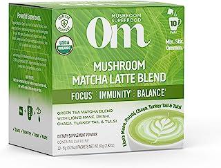 Om Organic Mushroom Superfood Powder, Matcha Latte Blend, 2.82 Ounce (10 Packets), Green Tea, Lions Mane, Reishi, Chaga, T...