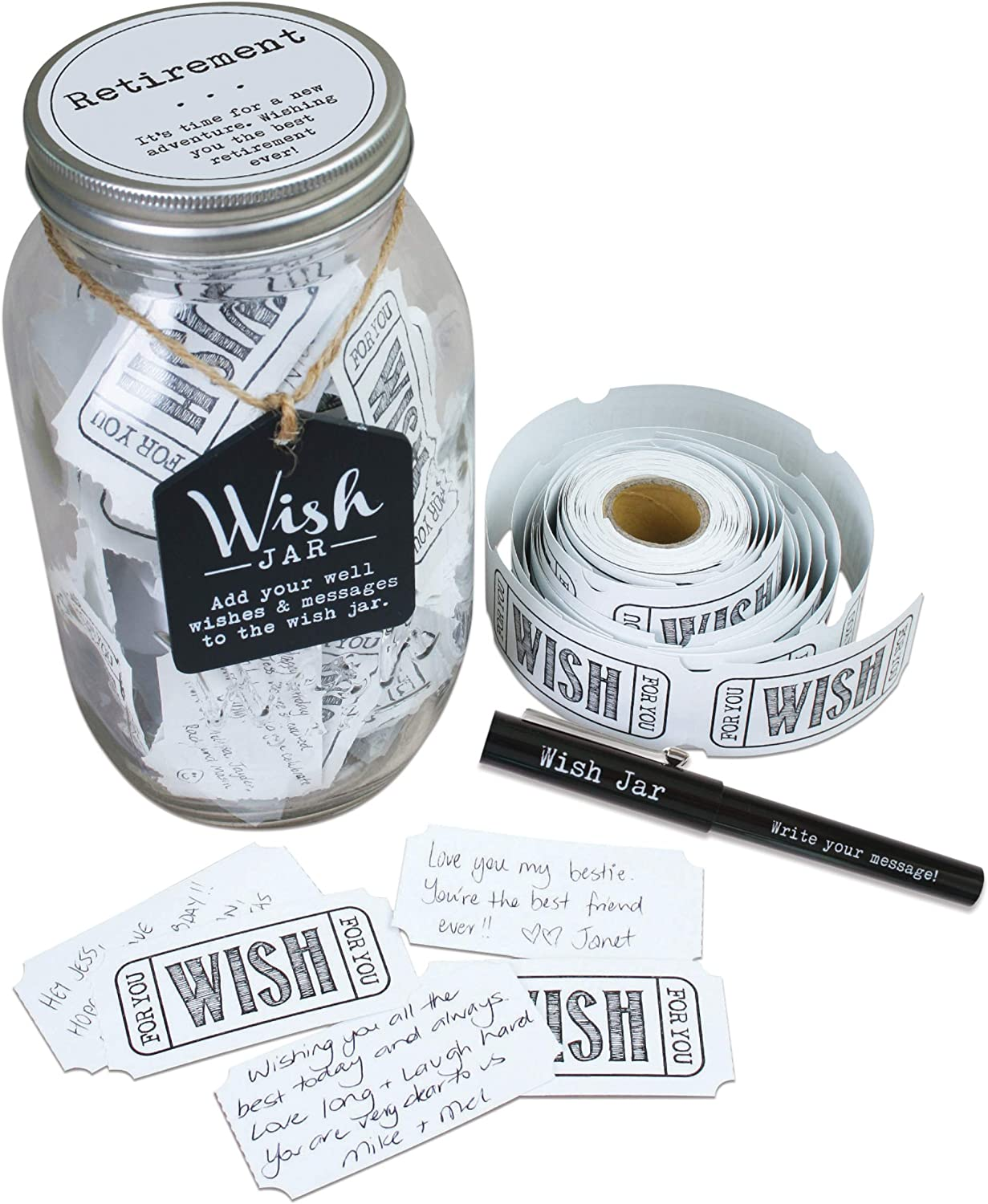 Top Shelf Retirement Wish Jar Max 49% OFF With Pen and Dealing full price reduction 100 Decorat Tickets