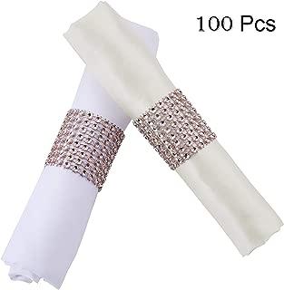 YumHome Napkin Rings Rhinestone Napkin Rings Adornment for Wedding Party (100 PCS, Rose Gold)