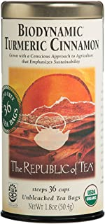 The Republic of Tea Biodynamic Turmeric Cinnamon Herbal Tea, Premium 100% Biodynamic Blend (36 Tea Bags)