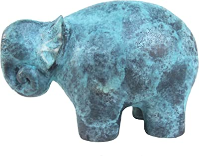 Land of Simple Treasures Bronze Elephant Figurine - Whimsical Lucky Elephant Feng Shui Sculpture - Metal Elephant Statue Paperweight for Desk - 5.5 Inches (Green)