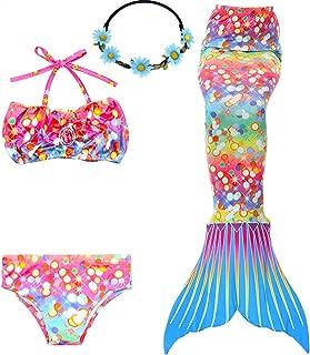 3PCS Girls' Swimsuit Mermaid Tail for Swimming Princess Bikini Set Swimsuit Bathingsuit (No Monofin)