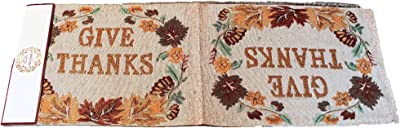 Twisted Anchor Trading Co Give Thanks Block Letters Fall Table Runner Thanksgiving Table Runner Tapestry Style Autumn Home Decor 72 in x 13 in