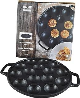 Cast Iron Poffertjes Pancake Pan, Enameled Bottom Dutch Mini Pancake Maker