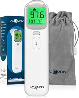 ACQMON Ear and Forehead Thermometer - Medical Digital Infrared Temporal Monitor for Fever, Instant Accurate Reading for Baby Kids and Adults